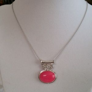 Pink Jade (Ovl) Pendant with Chain